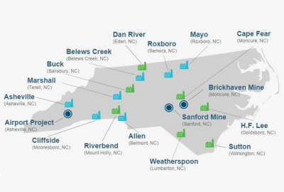 Map of Duke Energy coal ash plants in North Carolina. Blue buildings are operating plants; green are retired. Blue dots are proposed reuse and recycling projects. (Source: Duke Energy)