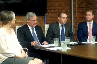 fROM LEFT TO RIGHT: Bonny Moellenbrock of Investors' Circle, Matthew Patsky of Trillium Asset Management, Joshua Humphreys of Croatan Institute, and Todd Sears of Out Leadership call for the full repeal of HB2.