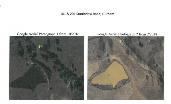 Aerial images of the Puryear land in 2016, when it was grassy, and 2018, when it was bare dirt