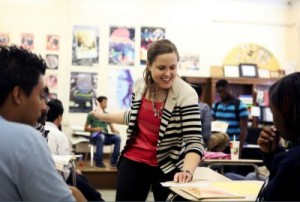 Karyn Dickerson interacts with students during an exercise with her students. (Photo by Ricky Leung)