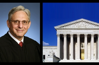 Photo of Merrick Garland is public domain. Photo of SCOTUS building is from https://upload.wikimedia.org/wikipedia/commons/d/d8/USSupremeCourtWestFacade.JPG with creative commons license http://creativecommons.org/licenses/by-sa/3.0/