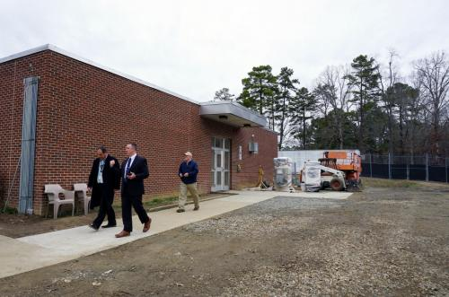 The C.A. Dillon juvenile detention facility is still under construction. Several people who are involved in the planning and operations toured the building in early January. (Photo by Melissa Boughton)