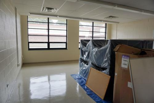 Pictured is a classroom under construction at the C.A. Dillion juvenile detention facility campus. The desks and other school supplies are still wrapped up until renovations are complete. (Photo by Melissa Boughton)