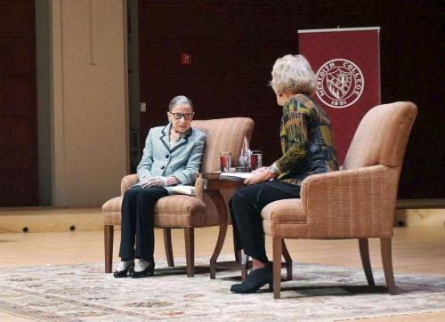 U.S. Supreme Court Justice Ruth Bader Ginsburg spoke Monday night in Raleigh as part of a Meredith College lecture series. She had a conversation with Suzanne Reynolds, a member of the Wake Forest law faculty and former dean. (Photo by Melissa Boughton)