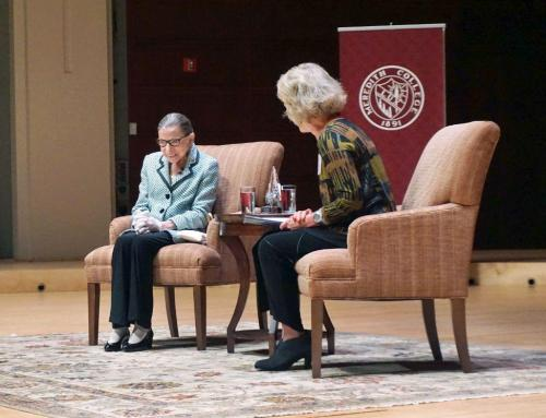 The 'Notorious RBG' was full of jokes and great advice Monday night during a conversation with Meredith College alum Suzanne Reynolds at Meymandi Concert Hall in Raleigh. (Photo by Melissa Boughton)